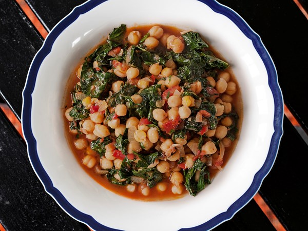 Chickpea, ginger and cavolo nero casserole