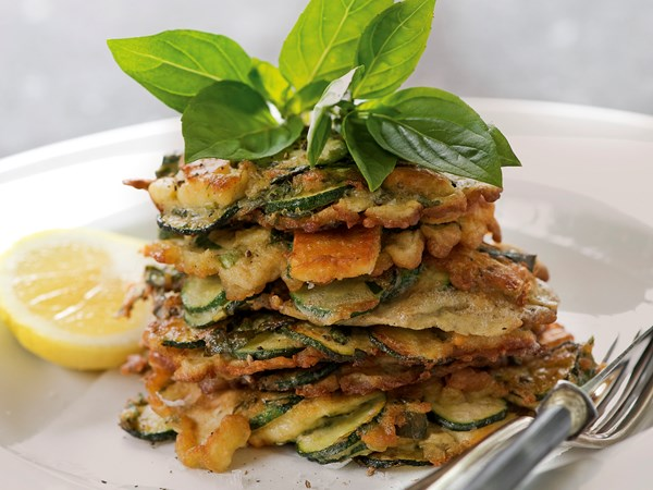 Zucchini, haloumi and basil fritters
