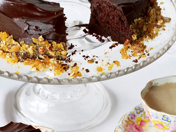 Chocolate cake with rum glaze and almond praline