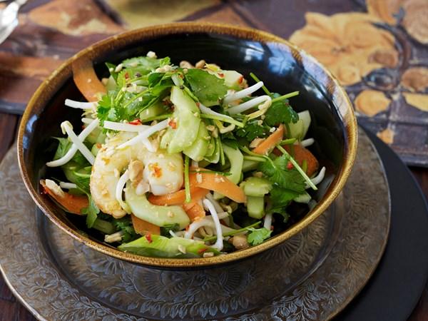 Prawns, edamame beans and fresh herb salad