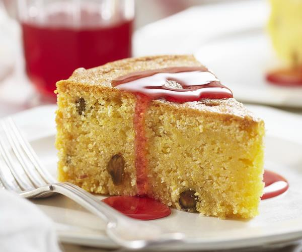 Pistachio and polenta cake with blood orange syrup