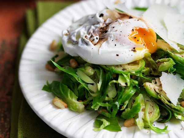 Brussels sprout salad with poached eggs