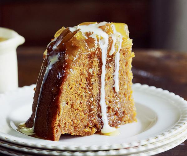 Burnt caramel and ginger steamed pudding with calvados custard recipe ...