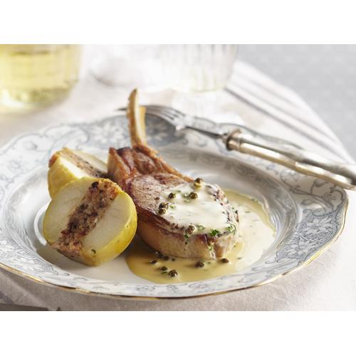 Pork cutlet with stuffed apple and peppercorn cider sauce ...