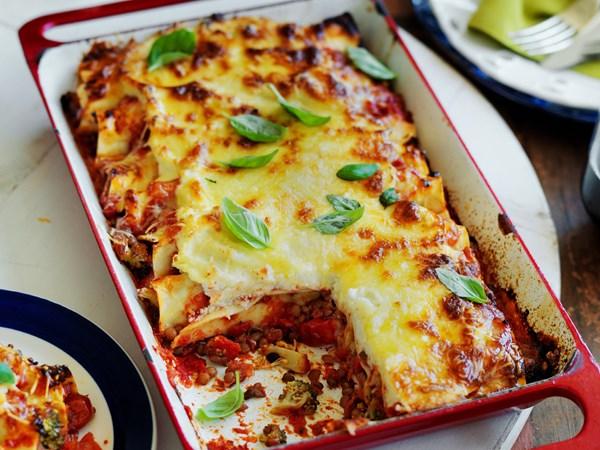 Broccoli and cauliflower cannelloni