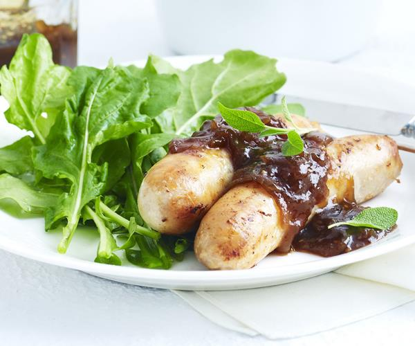 Chicken sausages with sage and onion gravy, sausage recipe, brought to ...