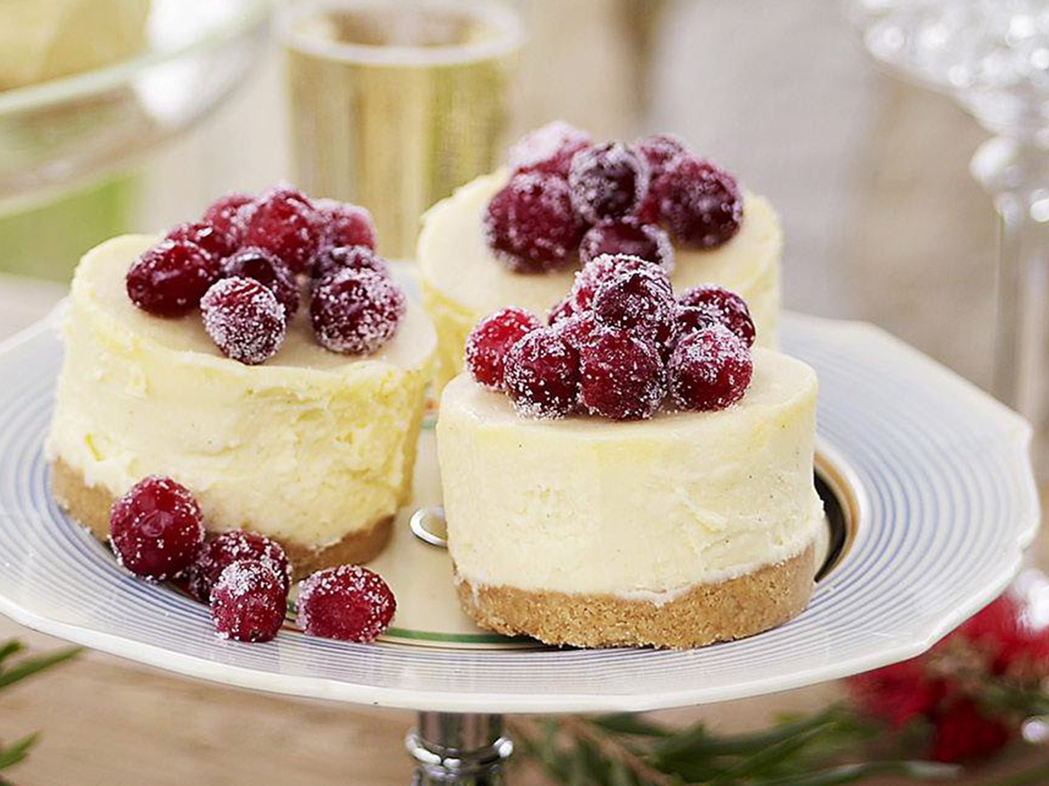 White chocolate cheesecakes with frosted cranberries recipe | Food ...