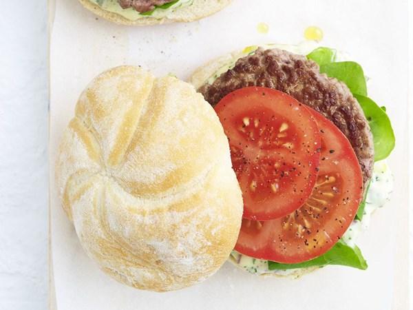 Lamb burgers with caper & herb mayonnaise