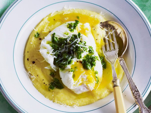 poached eggs with truffle polenta and salsa verde