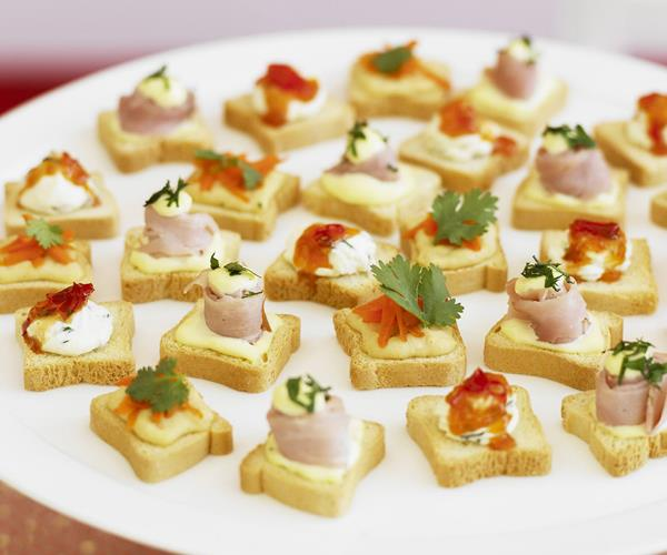 Canap s with three toppings recipe food to love for Canape toppings