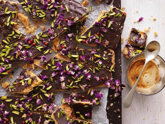 "Try this mild [pink pepper and pistachio chocolate bark](http://www.foodtolove.com.au/recipes/pistachio-pink-pepper-and-rose-petal-bark-29817|target=""_blank"") to dip your toe in the trend."