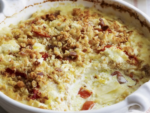 Potato, capsicum and goat's cheese gratin