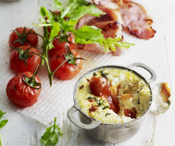 Baked ricotta with truss tomatoes, bacon and rocket recipe | Food To ...