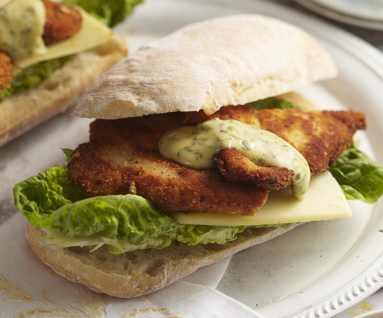 Chicken Schnitzel Rolls With Herb Mayonnaise Australian Women S Weekly Food