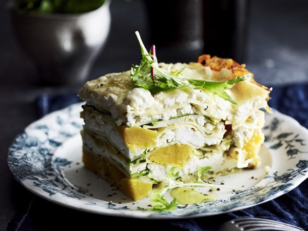 Pumpkin, sage and zucchini lasagne