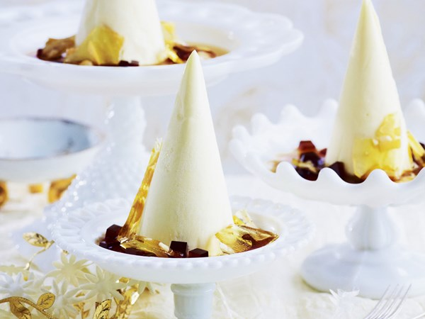 Frozen white chocolate mousse with espresso jelly and almond praline