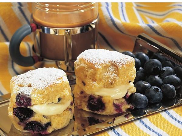 Blueberry ginger scones with custard cream