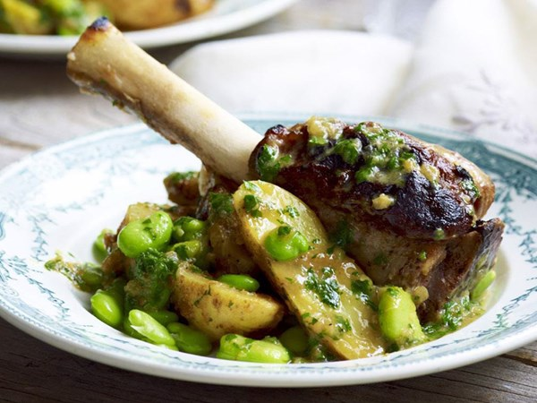 Lemon and ginger lamb shanks with broad beans