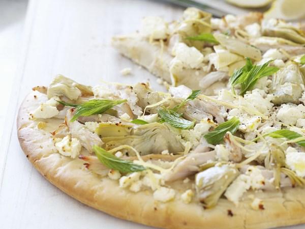 Chicken, artichoke and fetta pizza