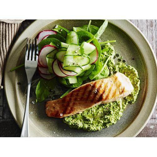 Salmon with lime & coriander pesto recipe | Food To Love