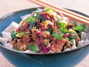 Beef salad with fresh rice noodles