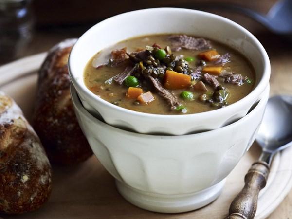 Lamb shank, vegetable and lentil soup