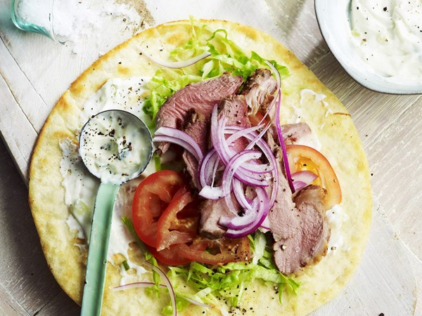Barbecued lamb sandwiches