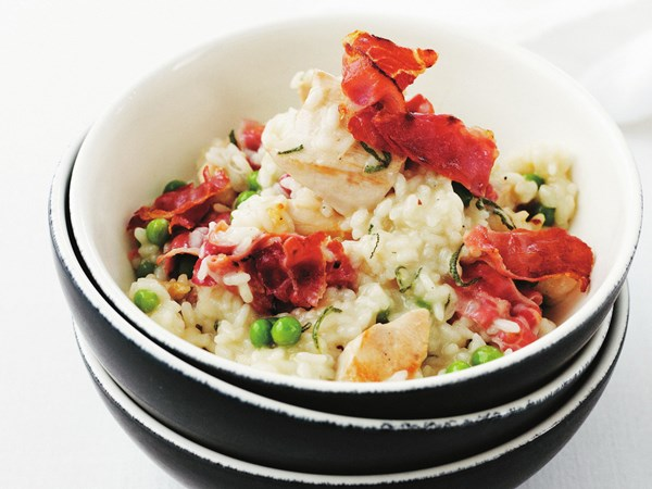 Chicken, pea, sage and prosciutto risotto