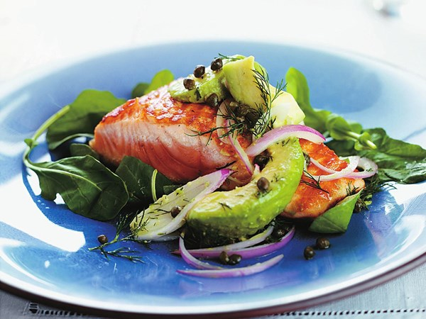 Char-grilled salmon with avocado salsa