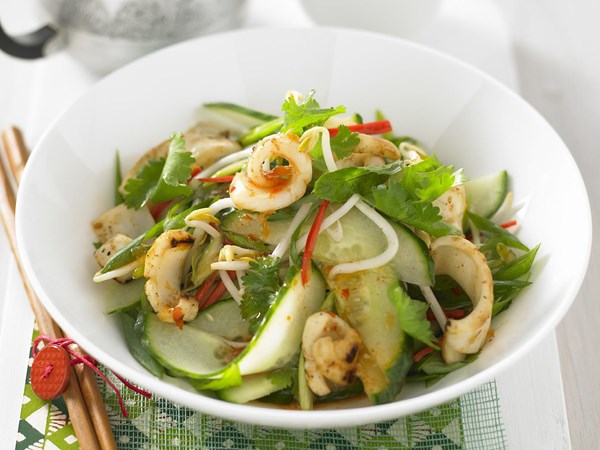 Chilli squid salad