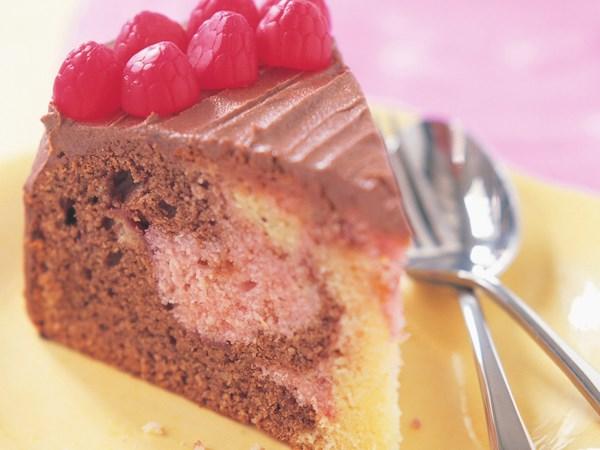 Raspberry marble cake