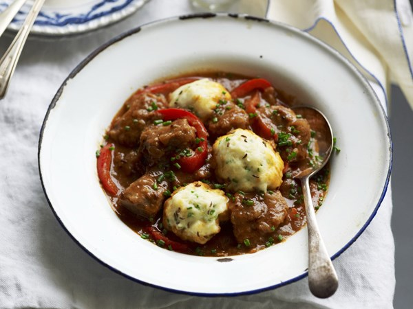 Hungarian veal goulash with chive dumplings