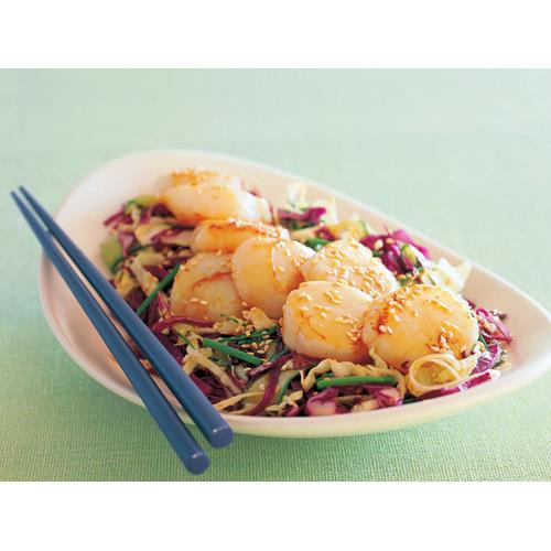 Seared scallops with mixed cabbage salad recipe | Food To Love