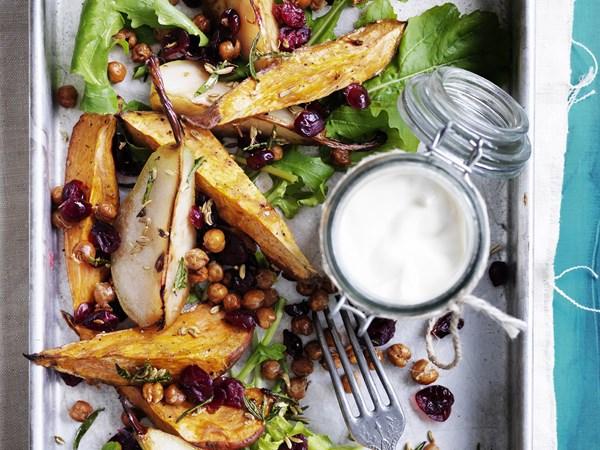 Roast kumara and pear salad with crunchy chickpeas