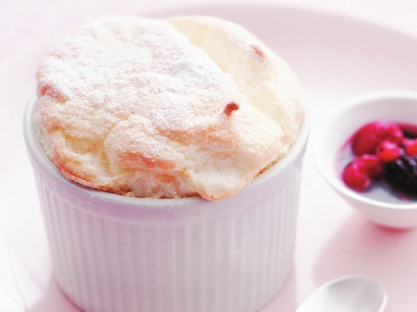 Soufflé with berry compote