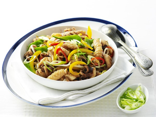 Stir-fried spicy squid and octopus