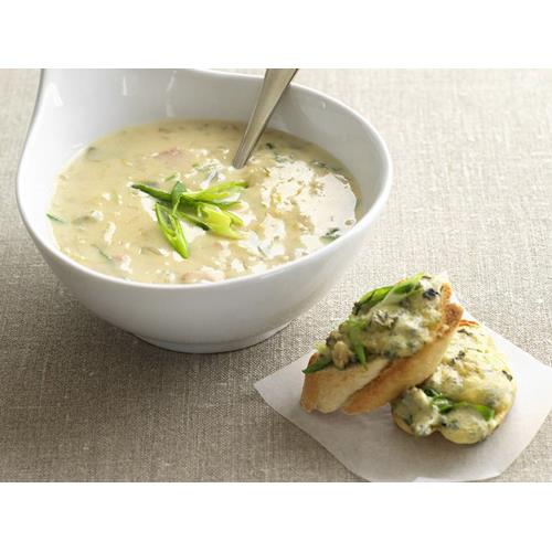 Potato, bacon and leek soup with blue cheese toasts recipe ...