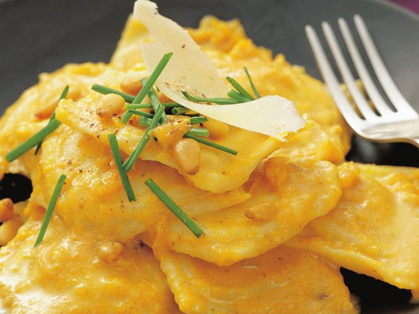 Ricotta ravioli with pumpkin sauce