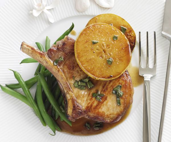 Pork cutlets with caramelised pear sauce recipe | Food To Love
