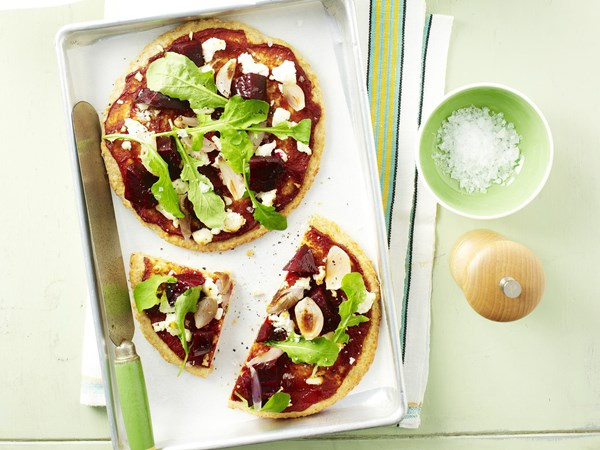 Beetroot and goat's cheese wholemeal pizzas