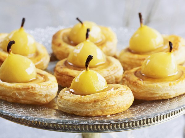 Pear and marzipan tartlets