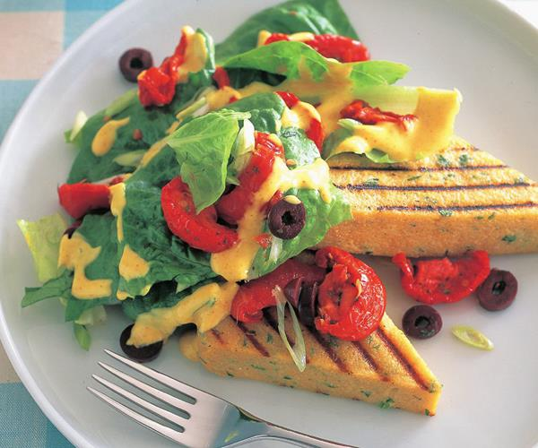 ... corn peach tomato over grilled polenta lemon fish and grilled corn