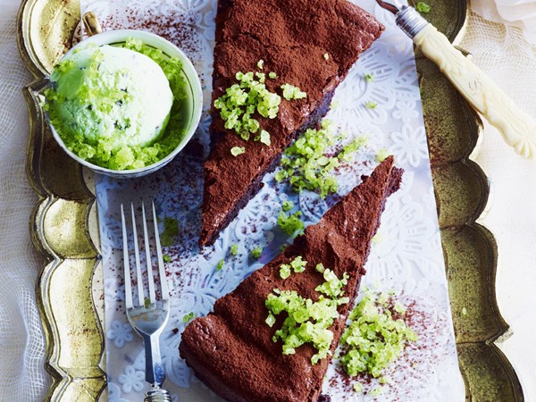 Flourless chocolate cake with mint toffee ice-cream