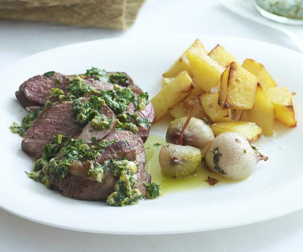 Lamb rump with salsa verde and roasted shallots