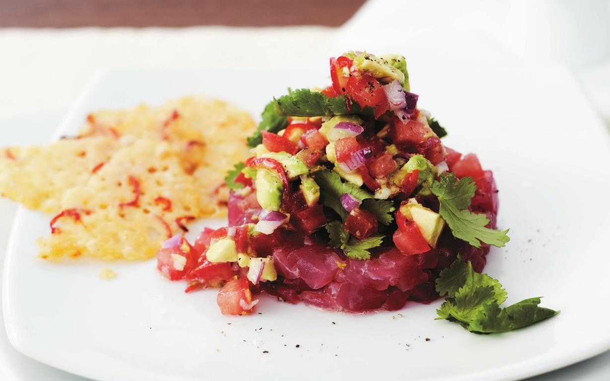 tuna tartare with avocado salsa and parmesan crisps