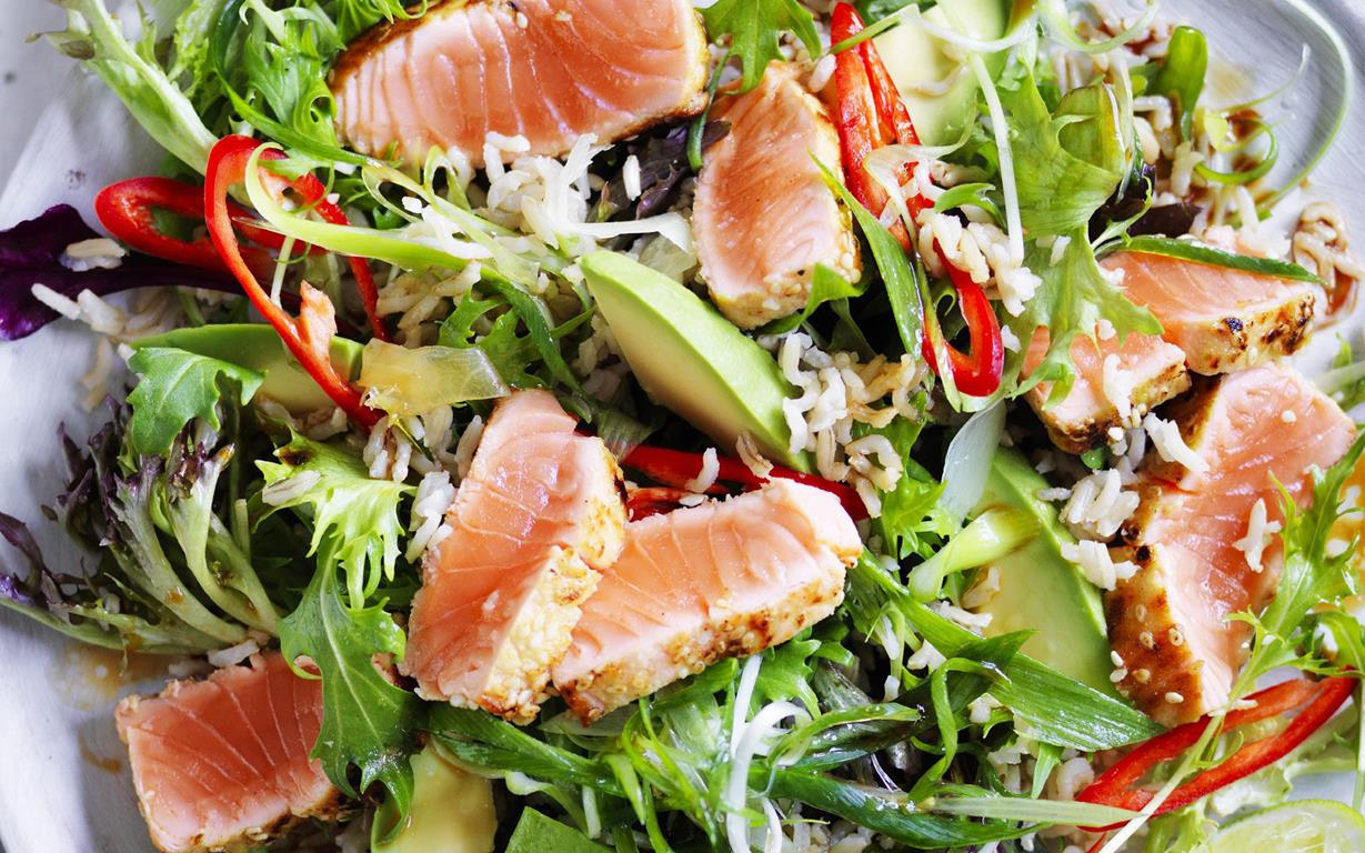 seared wasabi salmon and brown rice salad
