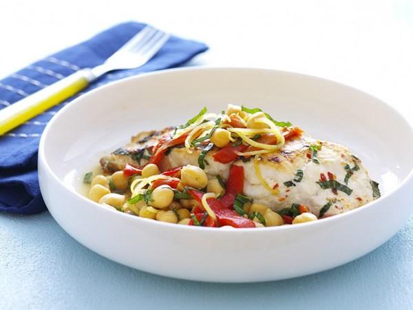 Lemon and basil fish with chickpea salad