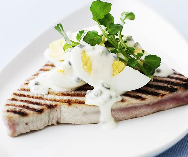 Grilled tuna with egg salad recipe food to love for Tuna fish salad recipe with egg
