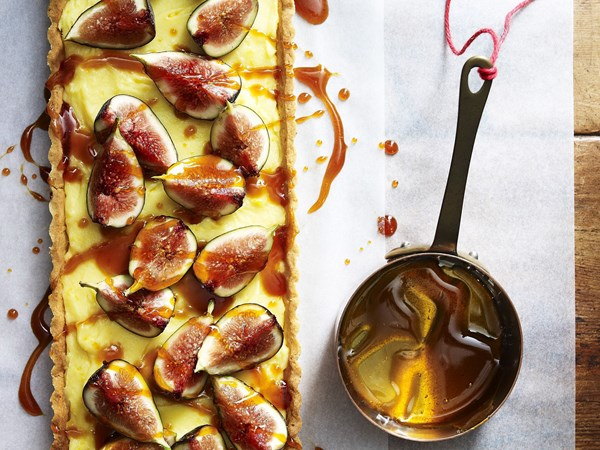 Walnut and toffeed fig tart