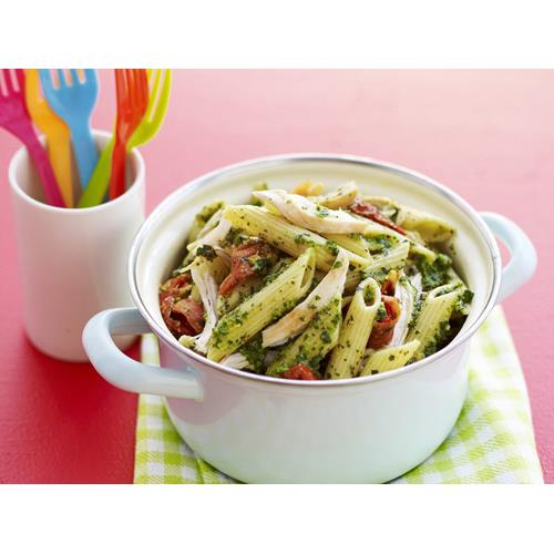 Penne with pesto chicken and sun dried tomatoes recipe for Atkins cuisine penne pasta 12 oz 340 g